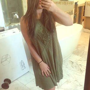 Green crochet summer dress